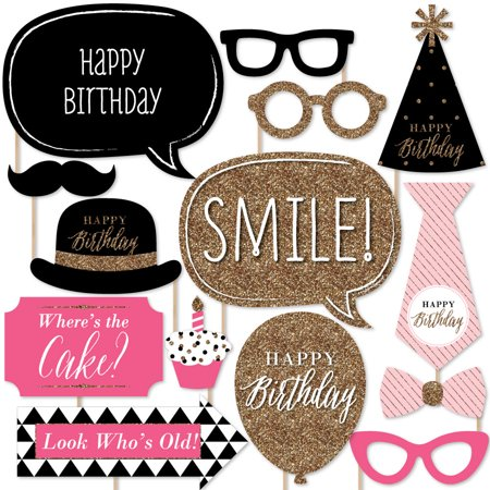 Chic Happy Birthday - Birthday Photo Booth Props Kit -20 Count - Happy Birthday Chica