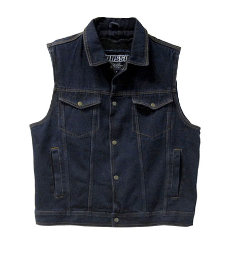 Denim vest with mesh liner �� 4 snap / 4 front pockets �� 2 inner pockets �� Available in sizes 38 - 52