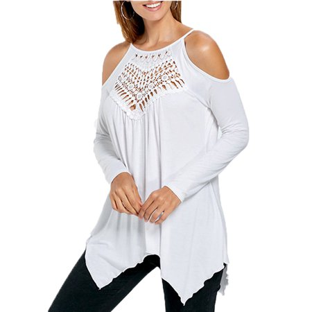 966b3296ef1 JustVH - JustVH Women s Cold Shoulder Long Sleeve Lace Patchwork Top Flowy  Tunic Casual Loose T Shirt - Walmart.com