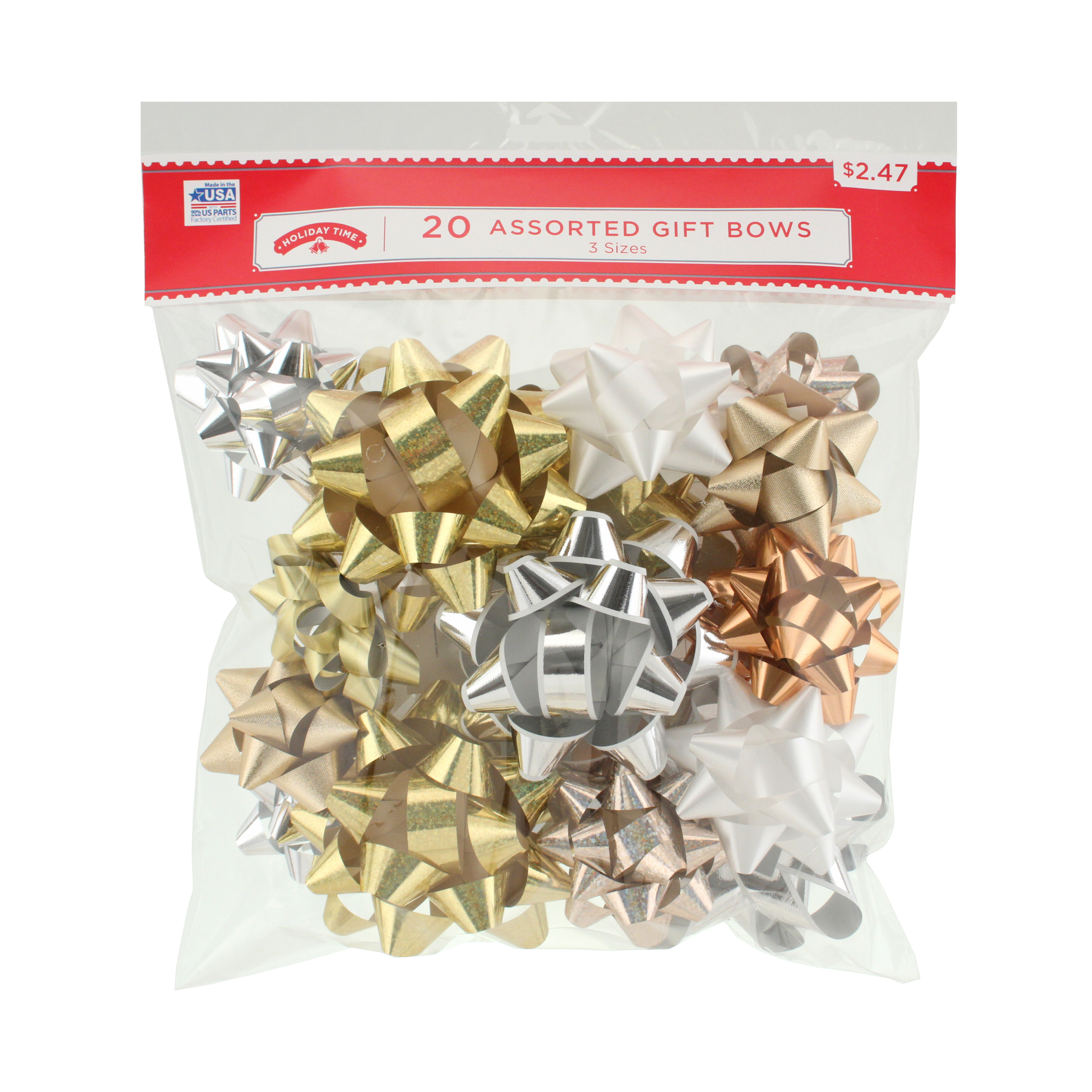 20 COUNT GIFT BOW ASSORTMENT - GOLD/SILVER
