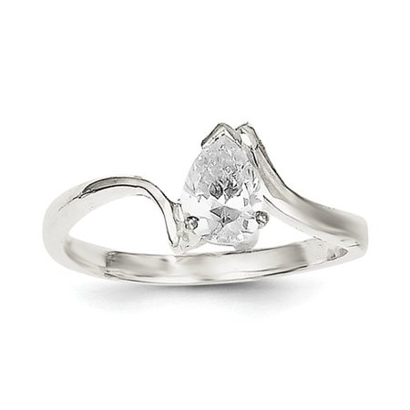 Sterling Silver Pear Shaped CZ Ring (Best Trousers For Pear Shaped)
