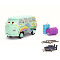 Diecast Car & Trailer Package - Disney Pixar CARSFillmore with Oil Cans, Light Green - Jada 98492 - 1/24 Scale Diecast Model Toy Car w/Trailer