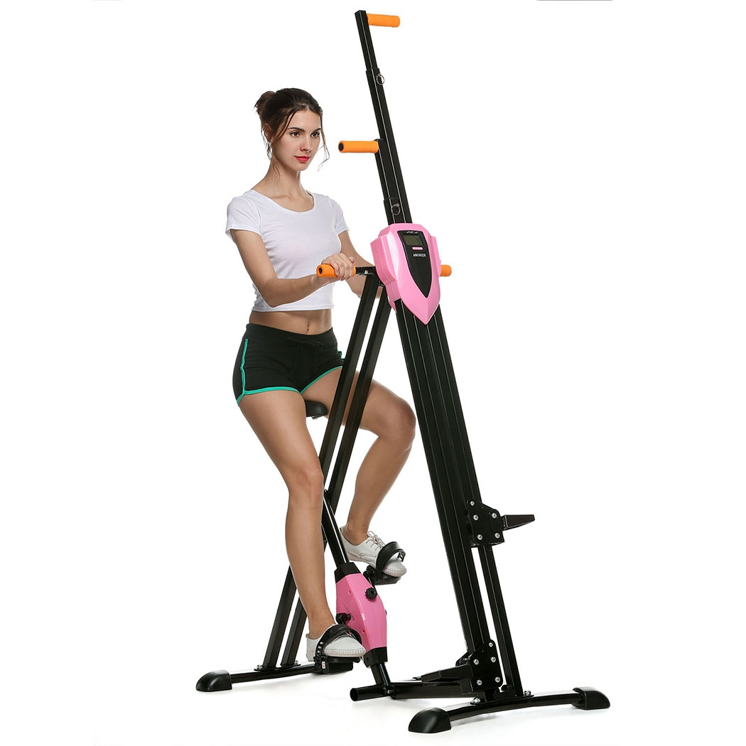 2 in 1 Total Body Vertical Climber Magnetic Exercise Bike Machine Folding Climbing Machine Stair Cardio BTC
