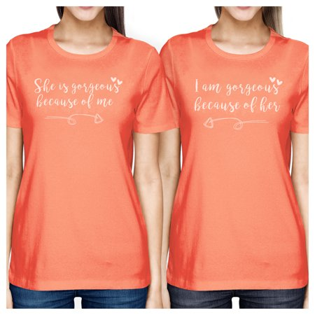 365 Printing She Is Gorgeous Peach Womens Matching Tee Best Mothers Day Gifts