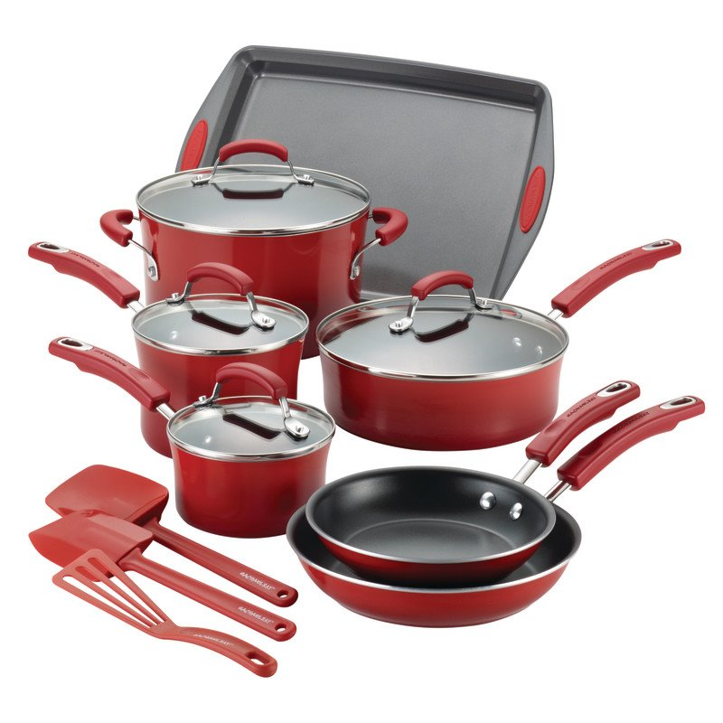 Rachael Ray Hard Enamel 14 Piece Cookware Set in Red Gradient