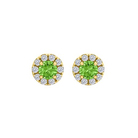Round Peridot and CZ Halo Stud Earrings in Yellow Gold - image 2 de 2