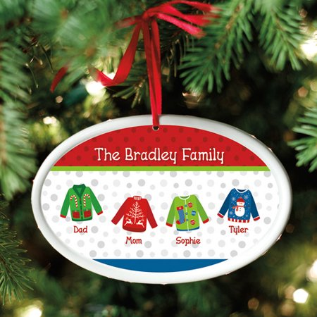 Personalized Ugly Christmas Sweater Oval Christmas Ornament - Ugly Ornaments
