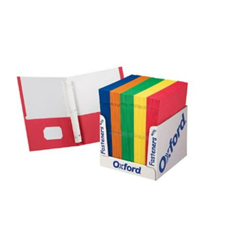 Esselte Fastener Folder - Esselte Corporation ESS50764 School Grade Twin Pocket Folders With Fasteners 100 Per Box
