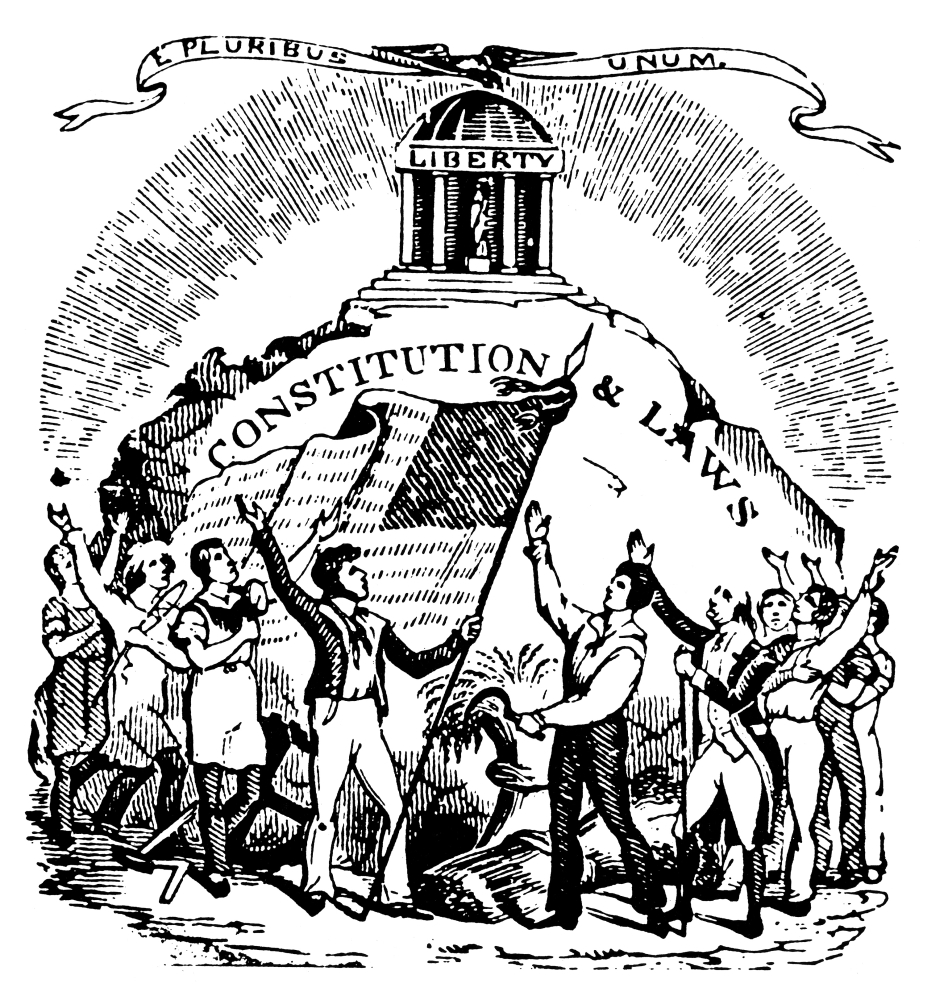 stretched canvas art constitution cut na late 18th century Eighteenth Century Cartoons na late 18th century american printer s cut reflecting confidence in the constitution medium 18 x 24 inch wall art decor size walmart