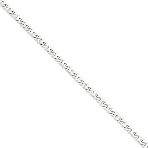 14k White Gold 8in 6.1mm Flat Curb Chain Bracelet by Jewelrypot