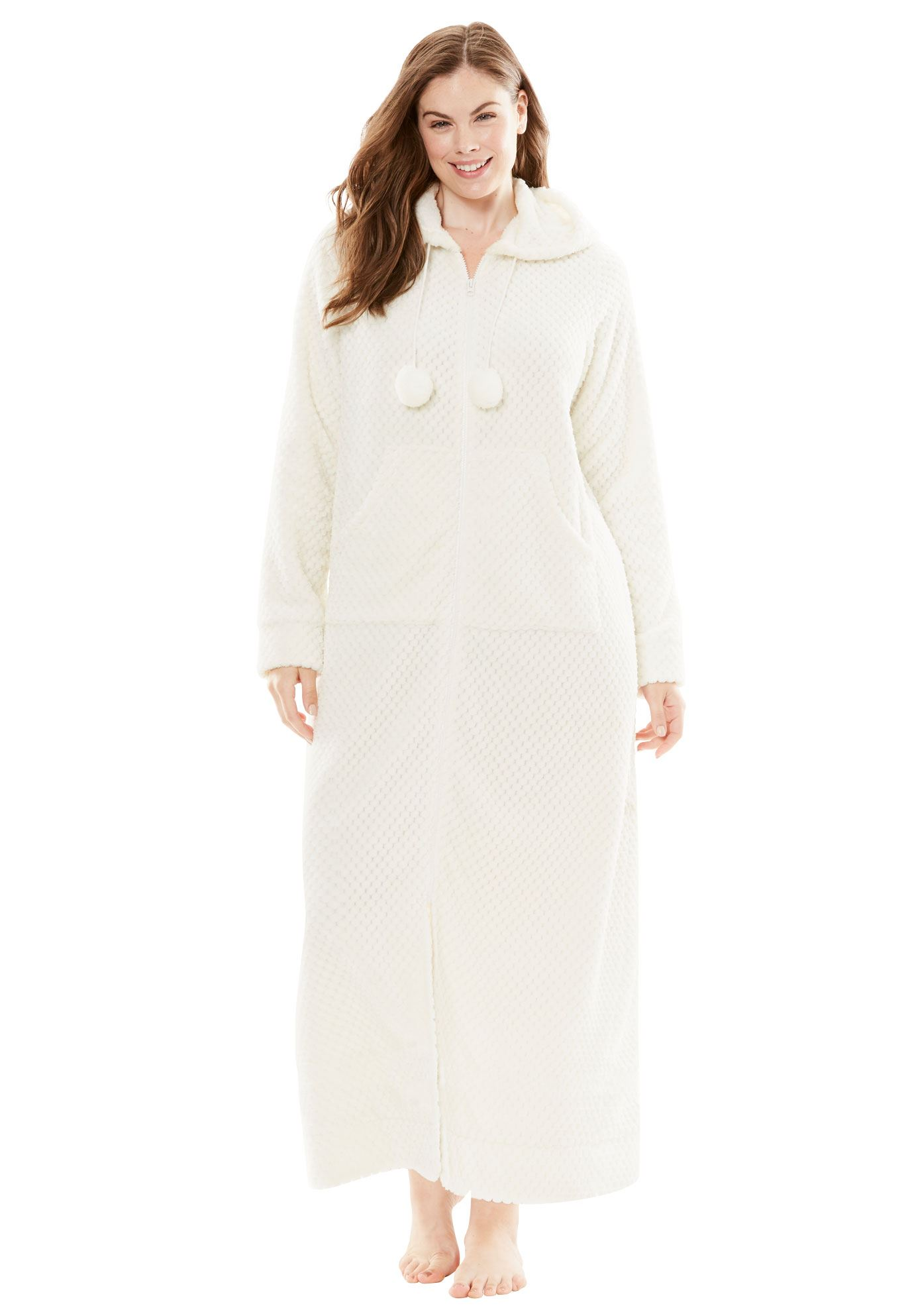 Plus Size Plush Hooded Long Robe By Dreams & Co.