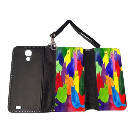 KuzmarK Samsung Galaxy S4 Wallet Handbag Case - Colorful Kitties in Crayon Colors Art by Denise Every
