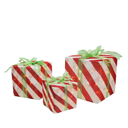 Set of 3 Lighted Red and White Striped Gift Box Christmas Yard Art Decorations - Cheap Xmas Gift Boxes
