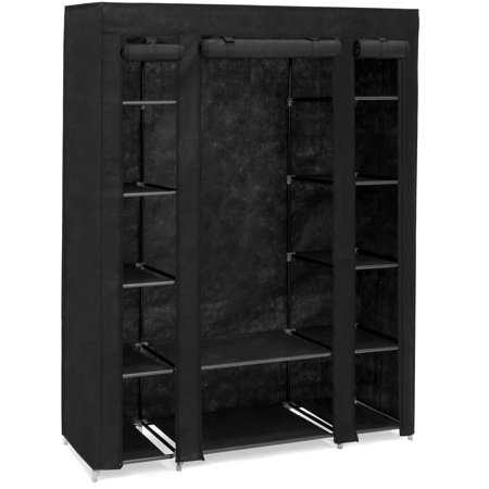 Best Choice Products Portable 12-Shelf Wardrobe Storage Closet Organizer with Cover and Hanging Rod,