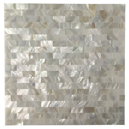 Ceramic Tile Kitchen Backsplashes (Art3d Mother of Pearl White Shell Mosaic Tile for Kitchen Backsplashes, Bathroom Walls, Spas, Pools, 12