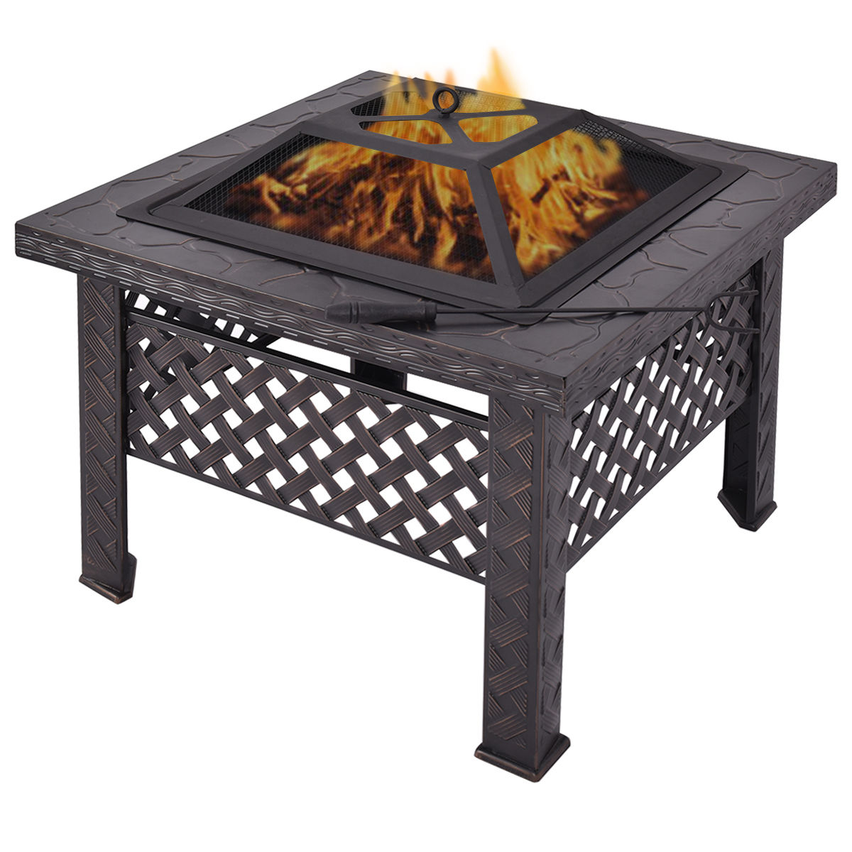 Costway 26'' Outdoor Metal Firepit Backyard Patio Garden Square Stove Firepit With Poker by Costway