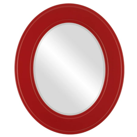 The Oval and Round Mirror Store Montreal Framed Oval Mirror in Holiday Red - Montreal Halloween Store