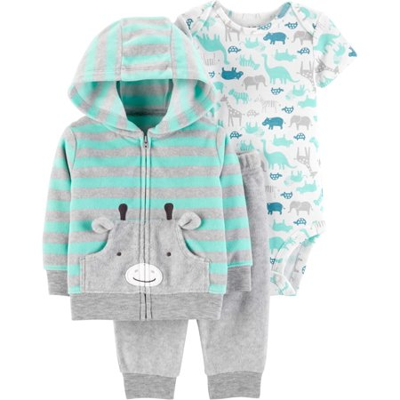 Hooded Cardigan, Short Sleeve Bodysuit & Pants, 3-Piece Outfit Set (Baby Boys)