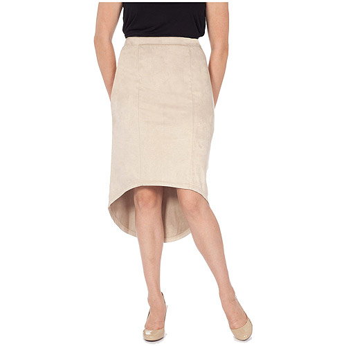 Moda Women's Hi-Low Faux Suede Skirt