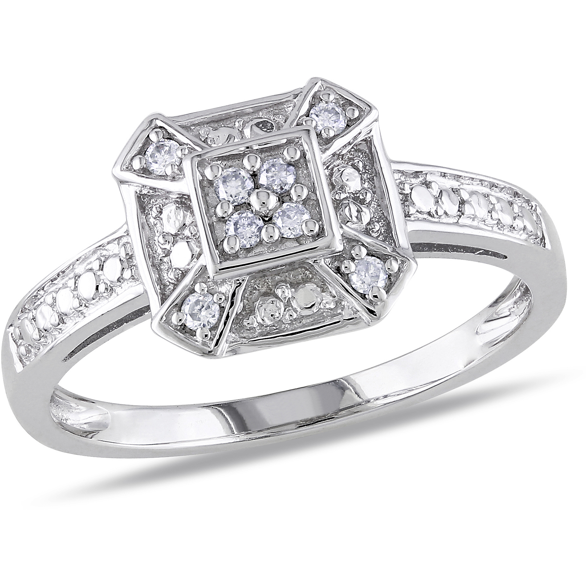 Miabella 1/10 Carat T.W. Diamond Fashion Ring in Sterling Silver