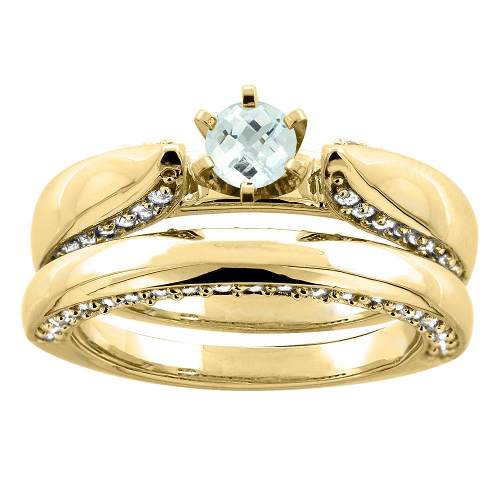 14K Yellow Gold Natural Aquamarine 2-piece Bridal Ring Set Diamond Accents Round 5mm, size 5 by Gabriella Gold