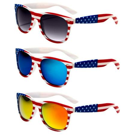 - V.W.E.  Classic American Patriot Flag Mirror Sunglasses USA - White Frame