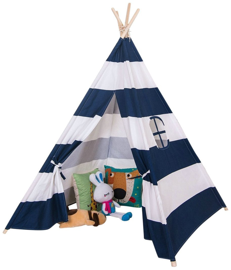 Funkatron Indoor Indian Playhouse Toy Teepee Play Tent for Kids Toddlers Canvas with Carry Case, Black Stripe by