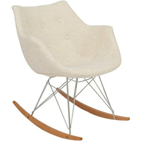 Leisuremod Twill Fabric Eiffel Rocking Chair Beige Twill