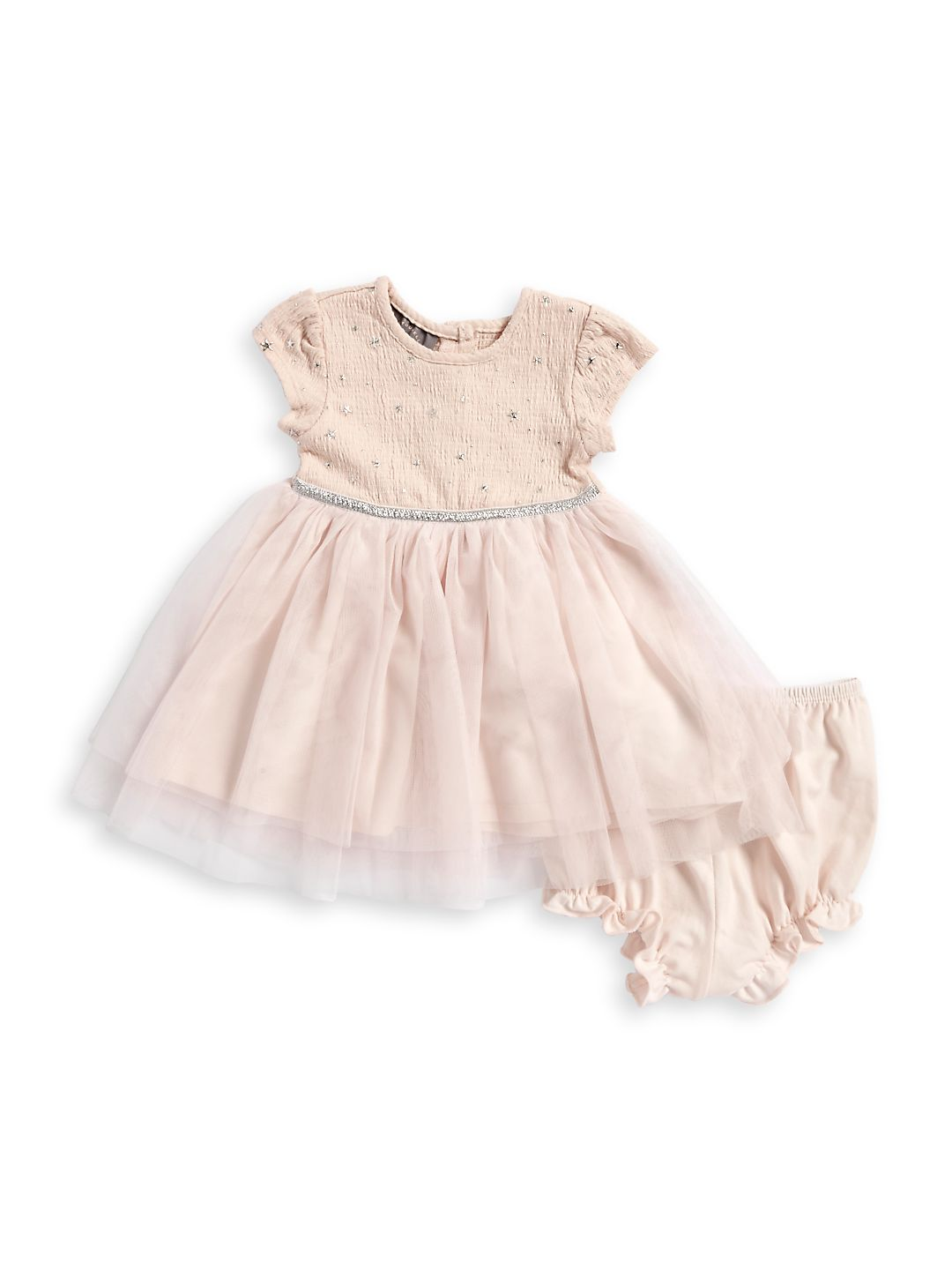 Baby Girl's Two-Piece Foil-Print Dress and Bloomers Set
