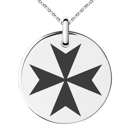 Stainless Steel Maltese Cross Engraved Small Medallion Circle Charm Pendant (Engraved Maltese)
