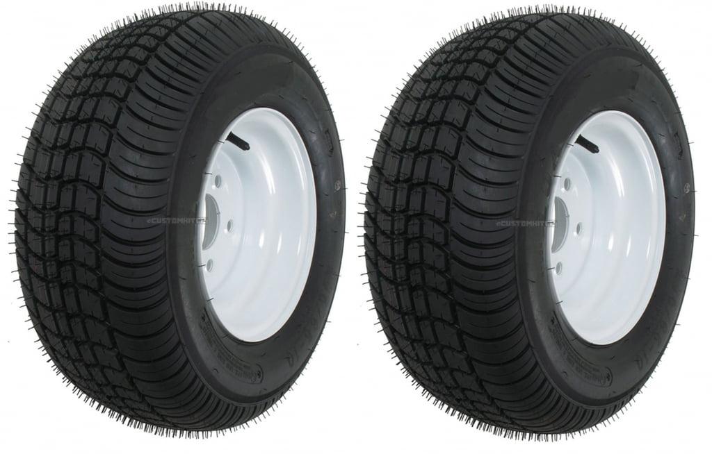 Two Trailer Tire & Rims 20.5 X 8 X 10 205/65-10 20.5/8-10 20.5/800-10 5Lug White