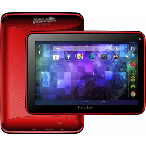 """Visual Land Prestige Elite 8Q with WiFi 8"""" Touchscreen Tablet PC with Case Featuring Android 4.4 (KitKat) Operating System"""