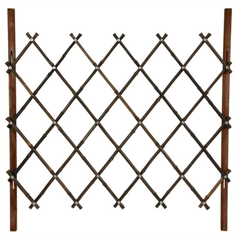 Oriental Furniture 3 ' Tall Diamond Bamboo Fence in Walnut