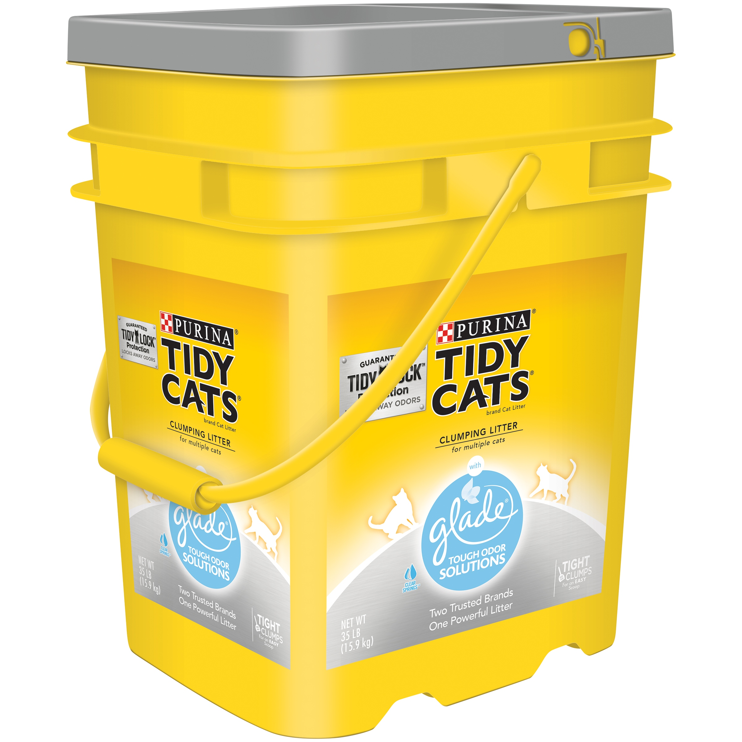 Purina Tidy Cats Clumping Cat Litter with Glade Tough Odor Solutions Clear Springs for Multiple Cats 35lb. Pail