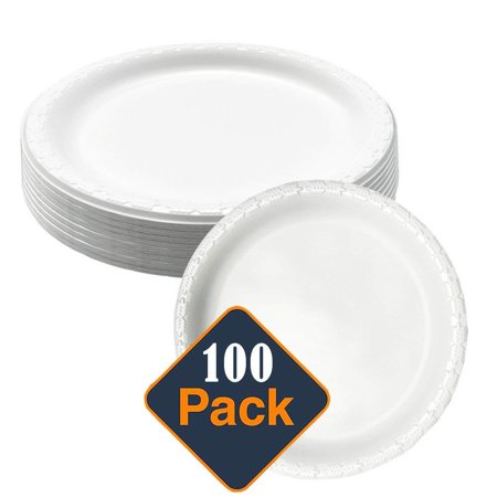 9in.MVP White Disposable Plastic Plates - Microwave Safe - Soak Proof - Hot or Cold 100 Per Package
