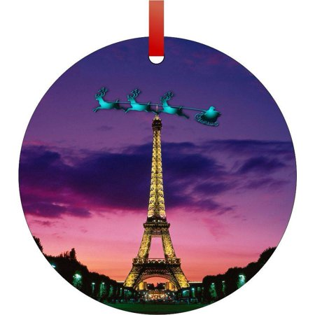 Santa and Sleigh Over the Eiffel Tower at Sunset-Paris, France Flat Round - Shaped Christmas Holiday Hanging Tree Ornament Disc Made in the U.S.A.