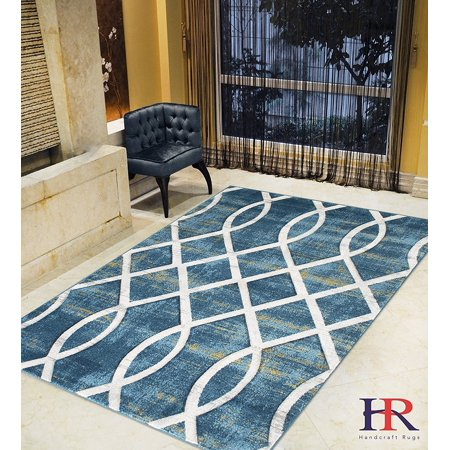 Modern Faded Distressed Geometric Moroccan Diamond Pattern Contemporary Area Rugs Thunder Blue/Ash Gray/Fossil Ivory/Slate Yellow ()