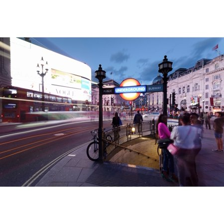 View of city at night Piccadilly Circus City of Westminster London England Poster Print