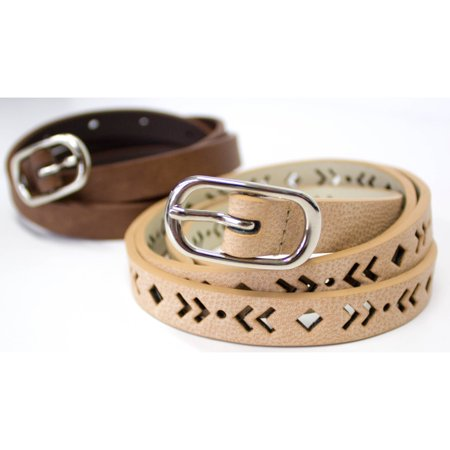 0.375 Fashion Leather (Ladies Faux Leather 2 piece Fashion Skinny Belts )