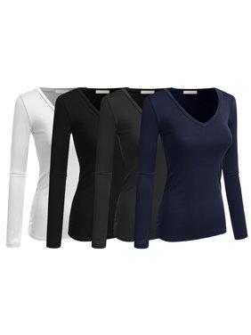 Women & Juniors Basic Solid Plain V-Neck Long Sleeve T Shirt Top