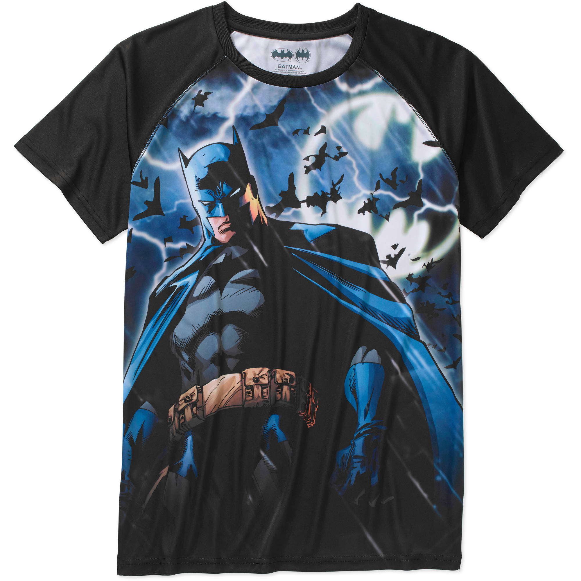 Batman Sublimated Big Men's Raglan Graphic Tee, 2XL