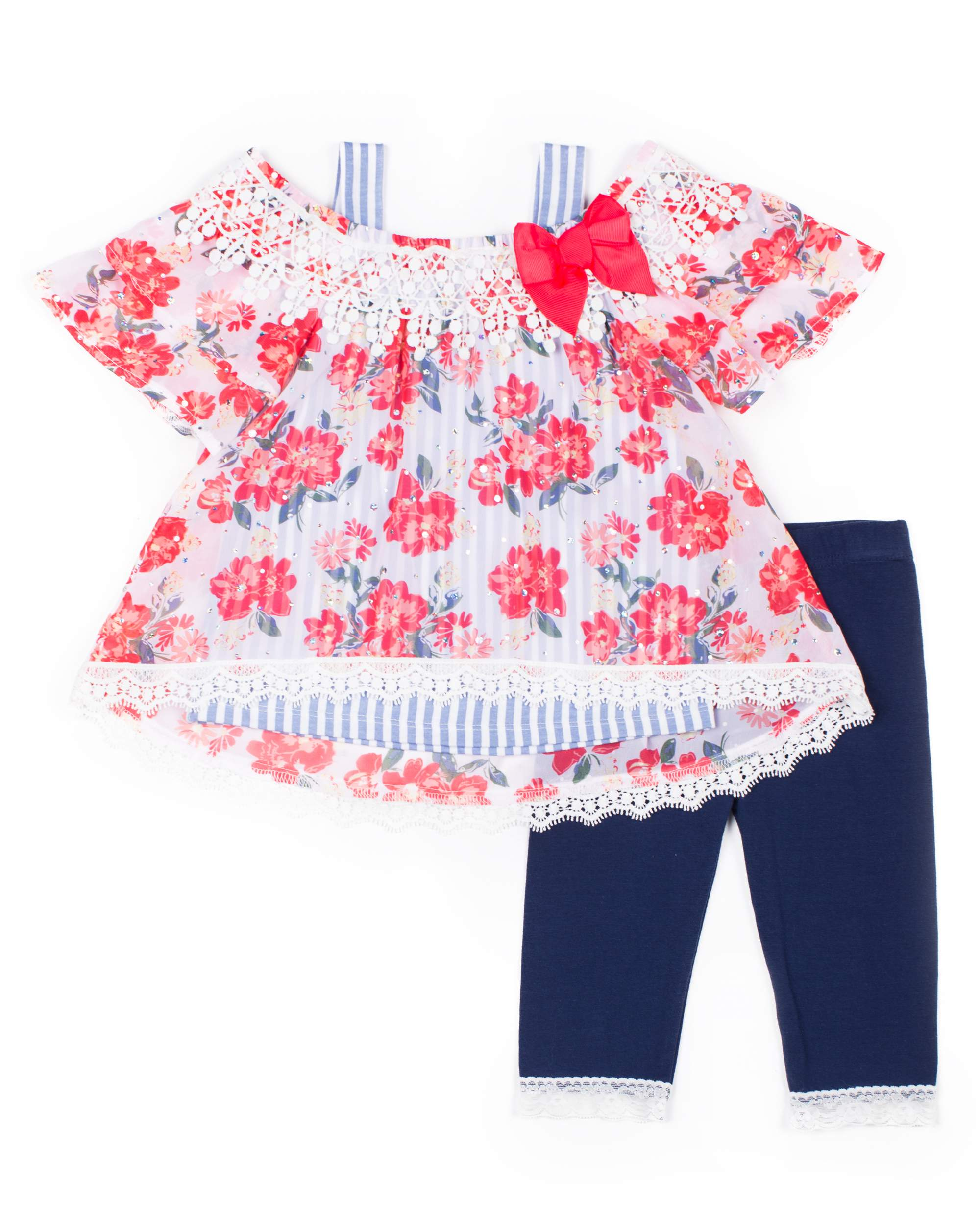 Floral Chiffon 2Fer Top and Capri Legging, 2-Piece Outfit Set (Little Girls)