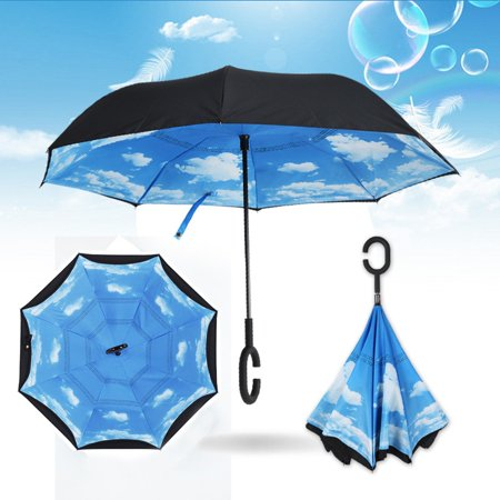 ENJOY Stylish Car Windproof C-Handle Double Upside Down Layer Inverted Self Stand Rain Protection Folding Umbrella