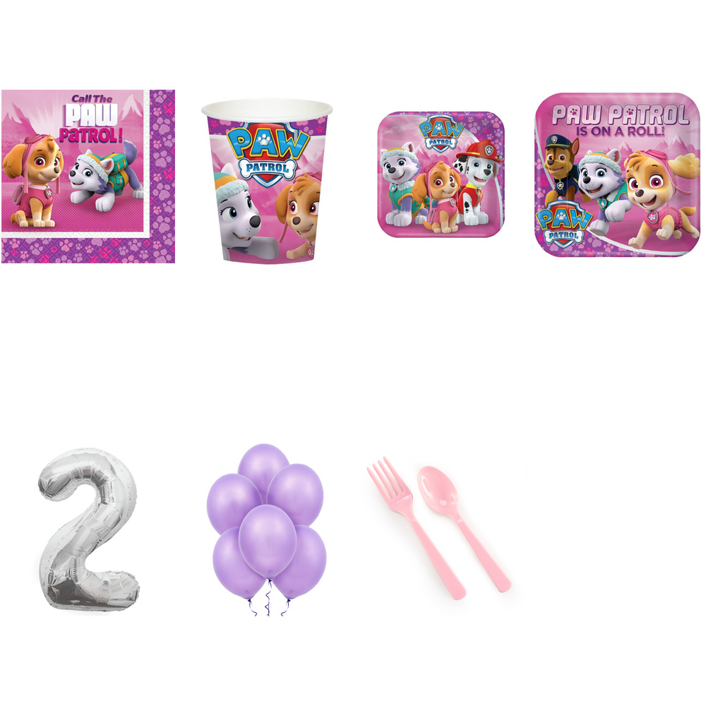 PAW PATROL PARTY SUPPLIES PARTY PACK FOR 16 WITH SILVER #2 BALLOON