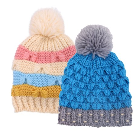 529a608c880261 BASILICA - Arctic Paw Kids Crochet Cable Knit Beanie With Yarn Pompom,Blue/Cream  Stripe - Walmart.com