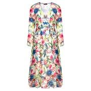 Womens Chiffon Floral Print Wrap V Neck Flowy Pleated Wedding Maxi Dress BeigeXL