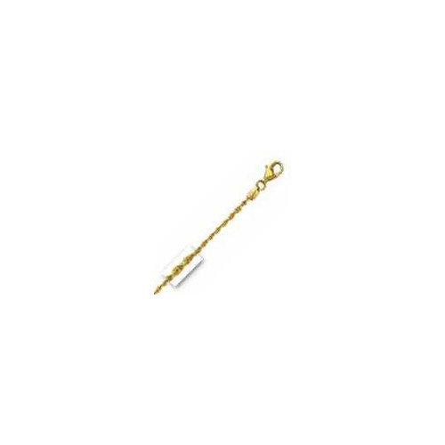 Jewelryweb 14k Yellow Gold 1.5mm diamond-cut Rope Chain Anklet - Lobster-claw