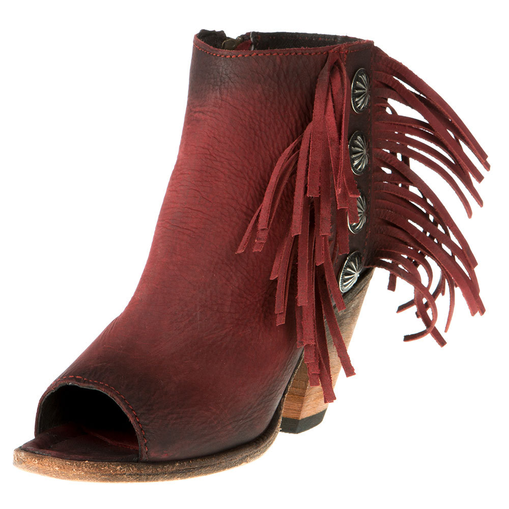 Liberty Black Womens Mindy Vegas Open Toe With Fringe And Concho