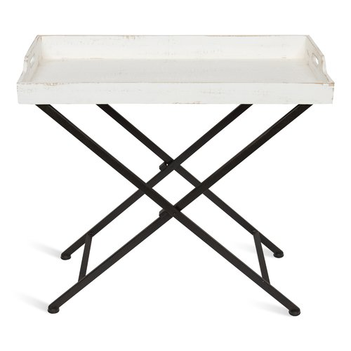 Gracie Oaks Roderica Wood and Metal Tray Table