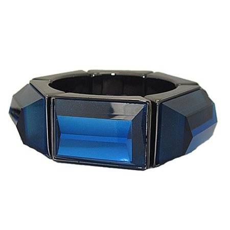 Genuine Coldwater Creek Lucite Bangle Stretch Bracelets - Capri Blue & GunMetal